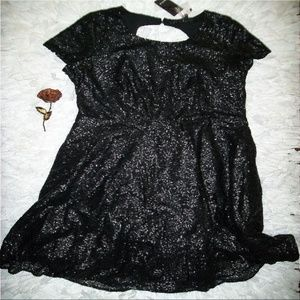 Black Sequin Short Sleeve Skater Dress